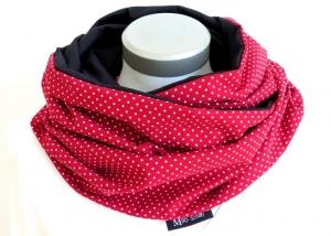 Milo-Schaly XXL Loop Stillloop Stillschal extrabreit Punkte rot weiß Baumwolle  - Handarbeit kaufen