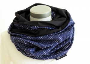 Milo-Schaly XXL Loop Stillloop Stillschal extrabreit Punkte blau weiß Baumwolle Geschenk zur Geburt - Handarbeit kaufen