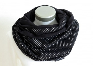 Milo-Schaly XXL Loop Stillloop Stillschal extrabreit Punkte schwarz weiß Baumwolle - Handarbeit kaufen