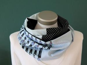 Milo-Schaly  Loop ALLROUNDER  4+ Varianten Baumwolle Patchwork hellblau Punkte Schal - Handarbeit kaufen
