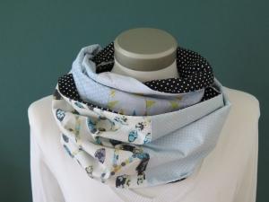 Milo-Schaly  Loop Schal Baumwolle Patchwork hellblau weiß Punkte floral  - Handarbeit kaufen