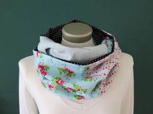Milo-Schaly  Loop Schal Damen Einzelstück Baumwolle Patchwork Blumen Punkte Marienkäfer - Handarbeit kaufen