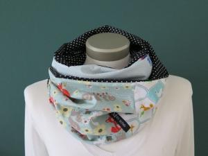 Milo-Schaly  Loop Schal bunt Damen Einzelstück Baumwolle Patchwork Tiere maritim - Handarbeit kaufen