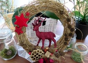 Türkranz Kranz Hirsch Weihnachten rot goldfarben Winter Deko Kranz - Handarbeit kaufen