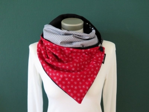 Milo-Schaly  Wickelschal mit Knopf Pusteblume rot grau Patchwork Schal Fleece Knopfschal   - Handarbeit kaufen