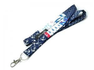 Milo-Schaly Schlüsselband lang mit Karabiner Einzelstück Patchwork blau weiß maritim Anker Schlüsselanhänger - Handarbeit kaufen
