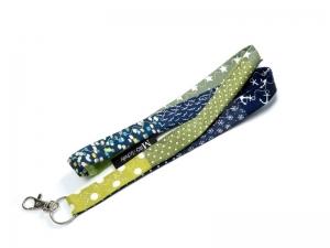 Milo-Schaly Schlüsselband lang mit Karabiner blau grün Punkte Einzelstück Patchwork Schlüsselanhänger  - Handarbeit kaufen