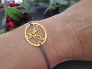 Armband Hirsch goldfarben Freundschaftsarmband Makramee Farbwahl 25 Farben Herbst Advent Weihnachten - Handarbeit kaufen