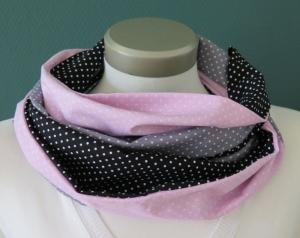 Milo-Schaly  Loop Baumwolle Damen Punkte rosa grau schwarz Wendeloop  - Handarbeit kaufen