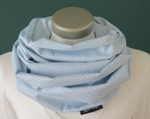 Milo-Schaly Loop Damen Baumwolle hellblau weiß Punkte Loopschal Baumwollschal  - Handarbeit kaufen