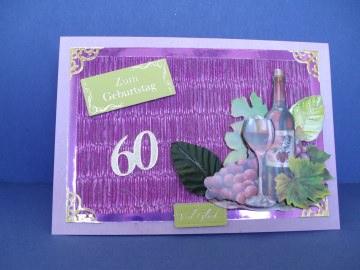 Geburtstagskarte zum 60 für Weinliebhaber für Mann oder Frau