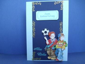 Geburtstagskarte für einen Jungen in der Farbe Blau