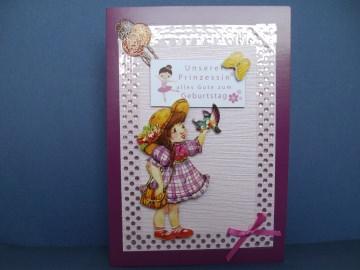 Geburtstagskarte in rose/pink für ein kleines Mädchen