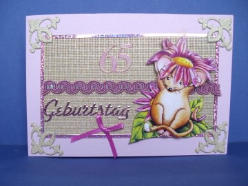 Geburtstagskarte zum 65 in altrosa mit einer kleinen Haselmaus - Handarbeit kaufen