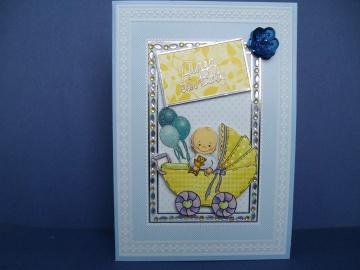 Glückwunschkarte in blau zur Geburt eines Jungen
