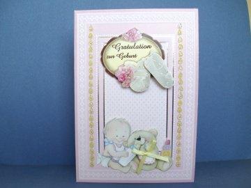 Glückwunschkarte zur Geburt eines Mädchens in rosa - Handarbeit kaufen