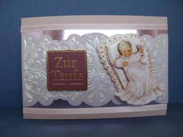 Glückwunschkarte zur Taufe eines kleinen Mädchens