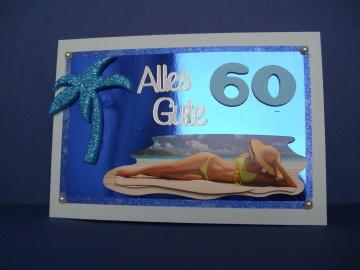 Geburtstagskarte in blau für einen Mann zum 60 Geburtstag - Handarbeit kaufen