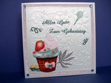 Geburtstagskarte in mint mit einem CupCake