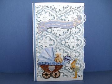 Glückwunschkarte zur Geburt eines Jungen gelasert und geprägt - Handarbeit kaufen