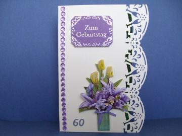 Geburtstagskarte zum 60 für eine Frau *in zartgelb/lila* - Handarbeit kaufen