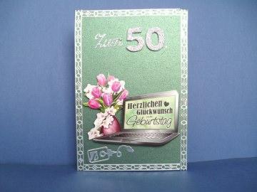 Geburtstagskarte zum 50 für eine Frau oder einen Mann mit LapTop - Handarbeit kaufen