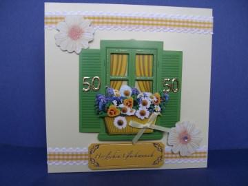 Geburtstagskarte zum 50 in gelb mit einem Fenster - Handarbeit kaufen