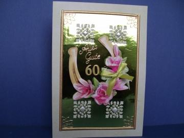 Geburtstagskarte zum 60 für eine Frau oder einen Mann mit Hufeisen