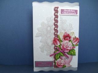 Geburtstagskarte für eine Frau zum 60 mit Blumenvase - Handarbeit kaufen