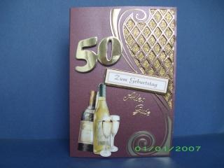Geburtstagskarte für einen Mann zum 50 in weinrot