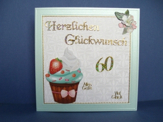 Geburtstagskarte für eine Frau zum 60. ten mit einem CupCake - Handarbeit kaufen