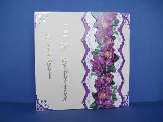 Geburtstagskarte für eine Frau zum 70. ten mit Blumen - Handarbeit kaufen