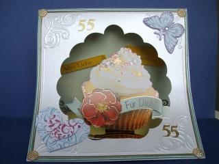 Geburtstagskarte für eine Frau zum 55. ten mit CupeCake