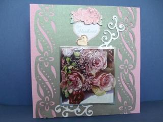 Hochzeitskarte in rosa und grau