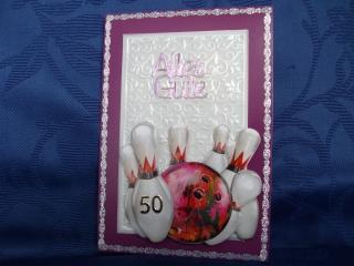 Geburtstagskarte für Frauen und Männer zum 50 und für Bowlingfans