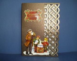 Weihnachtskarte in braun mit nostalgischen Figuren