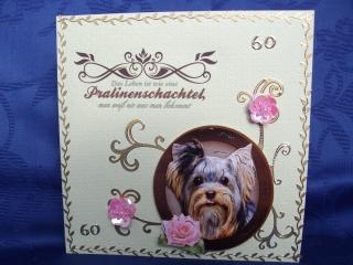 Geburtstagskarte für eine Frau zum 60 mit Hund