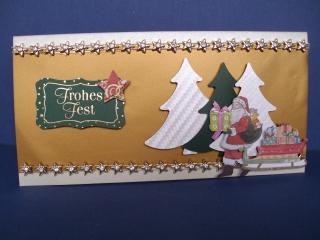 Weihnachtskarte mit Tannenbaum und Weihnachtsmann