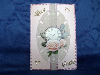 Geburtstagskarte zum 70 für eine Frau in rosa
