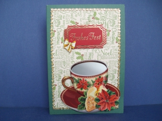 Weihnachtskarte in grün/rot  in vintage mit einer Tasse
