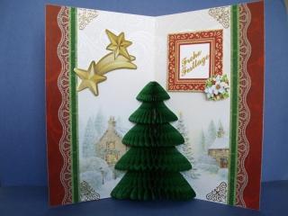 Weihnachtskarte mit einem Tannenbaum in Wabenoptik - Handarbeit kaufen