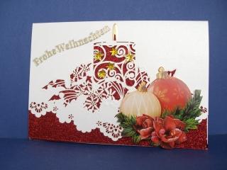 Weihnachtskarte edel mit Kerze und Weihnachtskugeln - Handarbeit kaufen