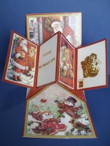 Weihnachtskarte in rot/grün mit einem gefaltetem Buch