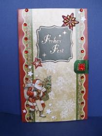 Weihnachtskarte in grün/rottönen mit Wabenmotv