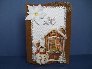 Weihnachtskarte in braun/weiss mit einem Schneemann