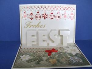 Weihnachtskarte mit Kerzen und Tannengirlande - Handarbeit kaufen