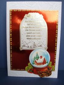 Weihnachtskarte in weiss mit einer Schneekugel - Handarbeit kaufen