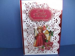 Weihnachtskarte edel in weiß/rot mit einem Engelmotiv