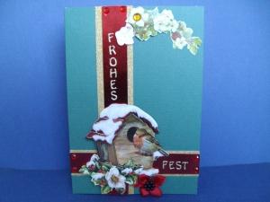 Weihnachtskarte mit Vogelhaus