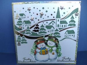 Weihnachtskarte edel mit einer Winterlandschaft